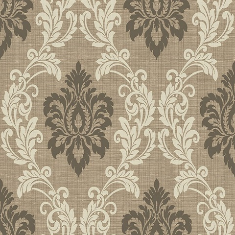 Adela Light Brown Twill Damask