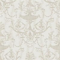 Beige, Cream& Champagne Damask Commercial Wallcovering