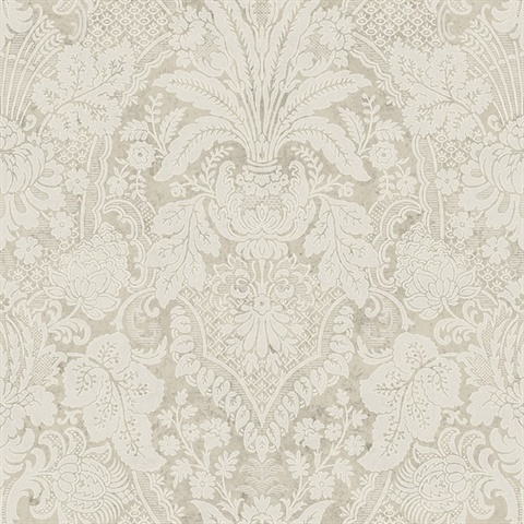 Beige & Cream Damask Commercial Wallcovering