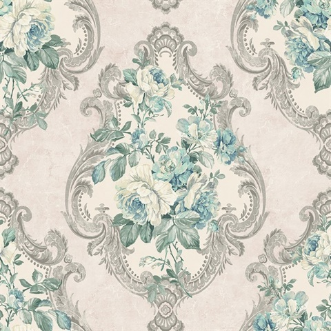 Beige, Cream, Silver & Turquoise Damask Commercial Wallcovering