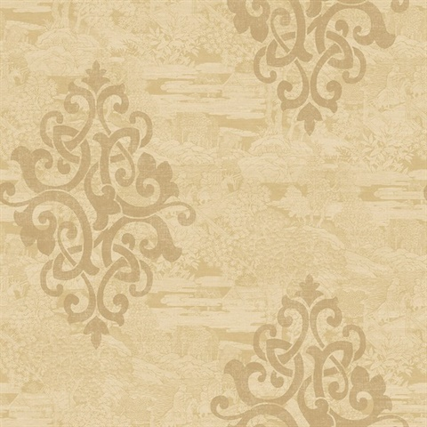 Beige Damask Commercial Wallcovering