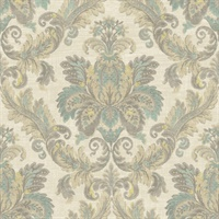 Beige, Grey & Turquoise Damask Commercial Wallcovering