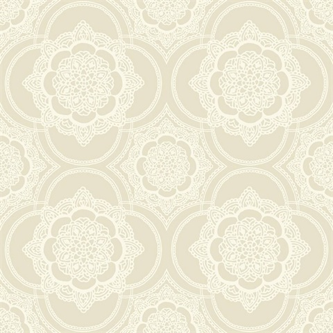 Beige & White Commercial Lace Medallion Wallcovering