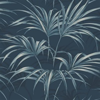 Black & Blue Commercial Open Palm Leaf Wallcovering
