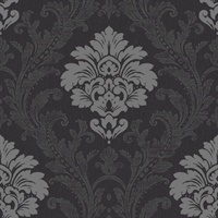 Black & Grey Damask Commercial Wallcovering