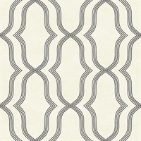 Black & Off White Commercial Geometric Wallcovering