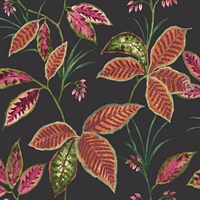 Black, Orange & Coral Commercial Leaves Wallcovering