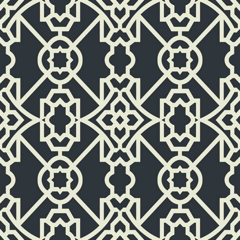 Black & White Commercial Modern Geometric Lattice Wallcovering
