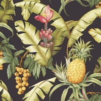 Black & Yellow Commercial Pineapple Floral Wallcovering