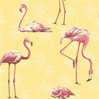 Black, Yellow, Red & White Commercial Flamingoes Wallcovering