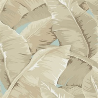 Blue, Brown & Beige Commercial Large Tropical Leaf Wallcovering