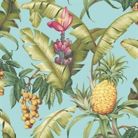 Blue Commercial Pineapple Floral Wallcovering