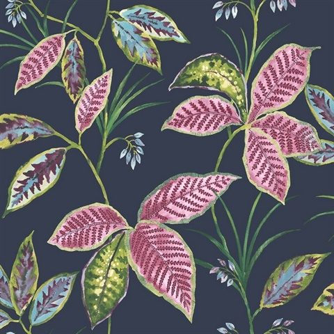 Blue, Green & Pink Commercial Leaves Wallcovering