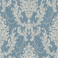 Blue & Grey Damask Commercial Wallcovering