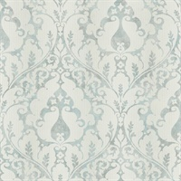 Blue & Metallic Damask Commercial Wallcovering