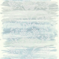 Blue, Metallic Silver & White Damask Commercial Wallcovering
