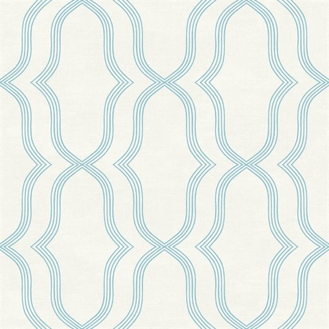 Blue & Off White Commercial Geometric Wallcovering