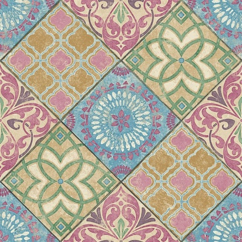 Blue, Pink, Mustard & Green Commercial Mosaic Geometric Tile Wallcover