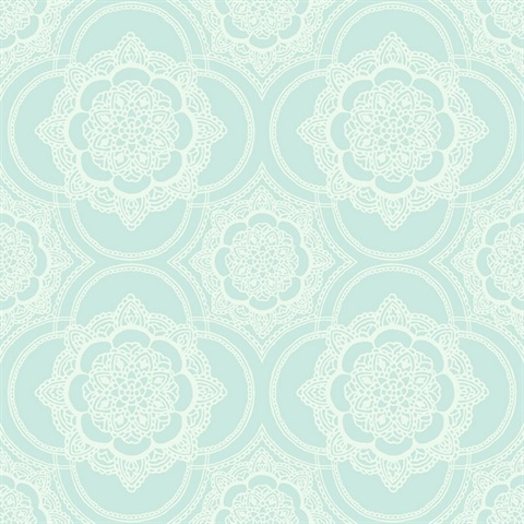 Blue & White Commercial Lace Medallion Wallcovering