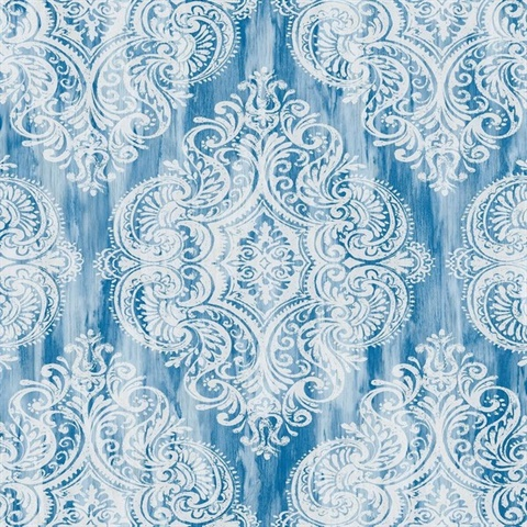 Blue & White Damask Commercial Wallcovering