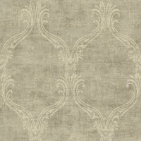 Brown Damask Commercial Wallcovering