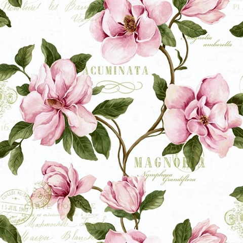 Brown, Green, Pink & White Commercial Magnolia Floral Wallcovering