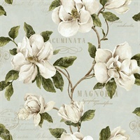 Brown, Green, White & Grey Commercial Magnolia Floral Wallcovering
