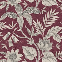 Burgundy & Grey Commercial Rainforest Floral Wallcovering