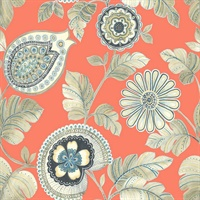 Coral & Aloe Commercial Calypso Modern Floral Wallcovering