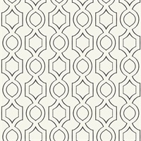 Cream & Black Commercial Handdrawn Geometric Wallcovering
