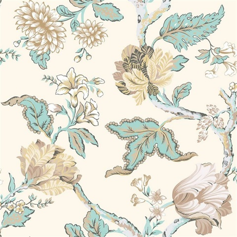Cream, Blue & Beige Commercial Jacobean Floral Wallcovering