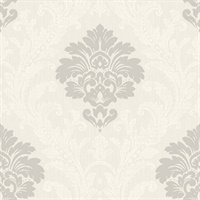 Cream & Grey Damask Commercial Wallcovering