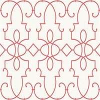 Cream & Red Commercial Ironwork Geometric Wallcovering