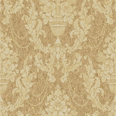 Gold & Beige Damask Commercial Wallcovering