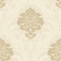 Gold Damask Commercial Wallcovering