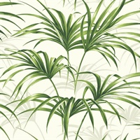 Green Commercial Open Palm Leaf Wallcovering