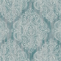 Green Damask Commercial Wallcovering
