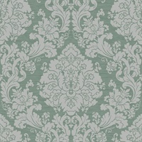 Green & Grey Damask Commercial Wallcovering