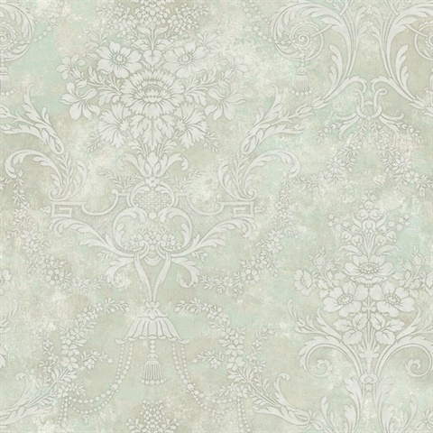 Green & Off White Damask Commercial Wallcovering