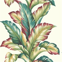 Green, Red, Turquoise, White & Yellow Commercial Big Leaf Wallcovering