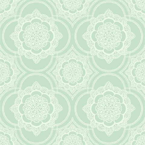 Green & White Commercial Lace Medallion Wallcovering