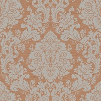 Grey & Bronze Damask Commercial Wallcovering