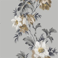 Grey & Brown Commercial Flower Stripe Wallcovering