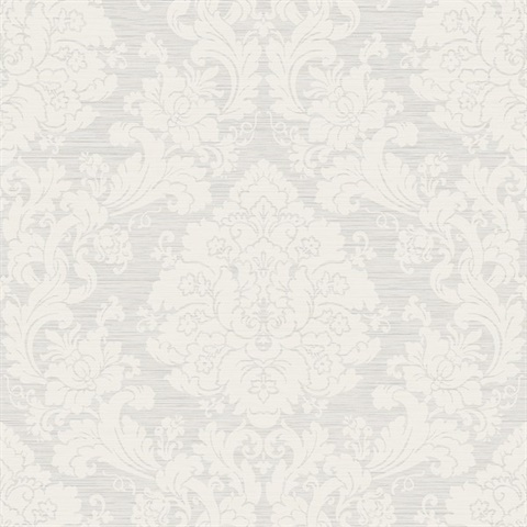 Grey & Cream Damask Commercial Wallcovering