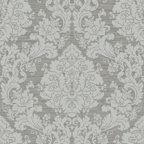 Grey Damask Commercial Wallcovering