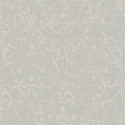Grey & Metallic Silver Damask Commercial Wallcovering