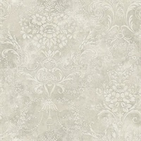 Grey & Neutrals Damask Commercial Wallcovering