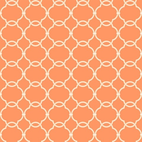 Grey & Orange Commercial Linked Trellis Wallcovering
