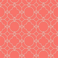 Grey & Red Commercial Lattice Geometric Wallcovering