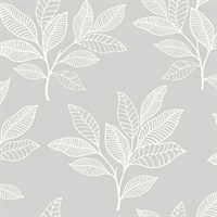 Grey & Whie Commercial Paradise Leaves Wallcovering